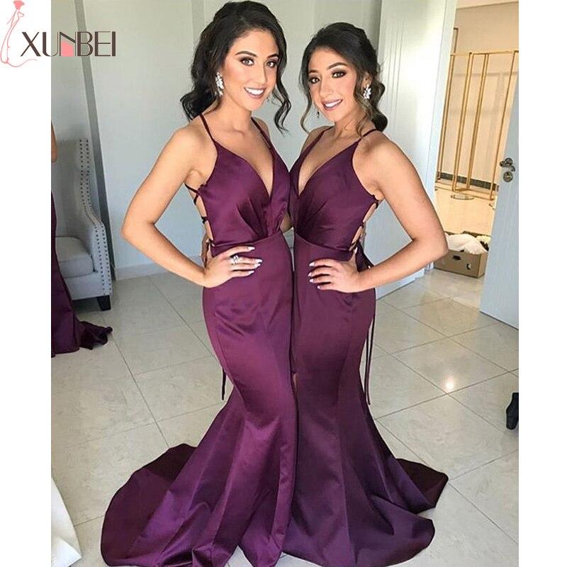 Mermaid Long Bridesmaid Dresses V-Neck Sexy Spaghetti Straps Backless Dress For Wedding Party Pleat vestidos fiesta boda