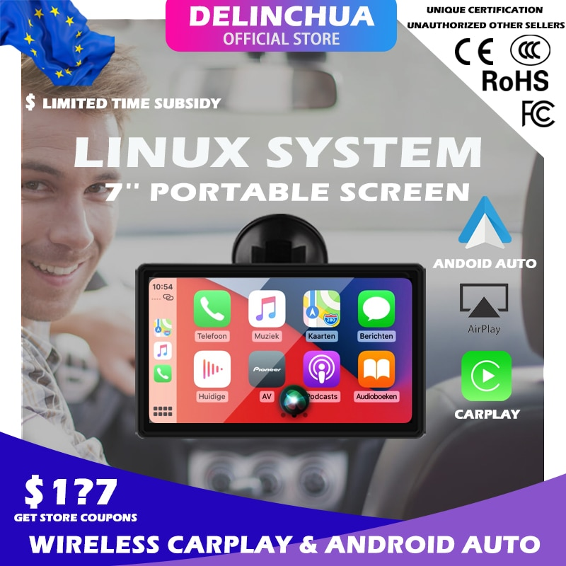 Review 7 Inch Touch Screen Car Portable Wireless Apple CarPlay Tablet Android Radio Multimedia Bluetooth Navigation HD1080 Stereo Linux
