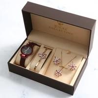 4pcs set womens gift set beautifully packaged bracelet watch set
