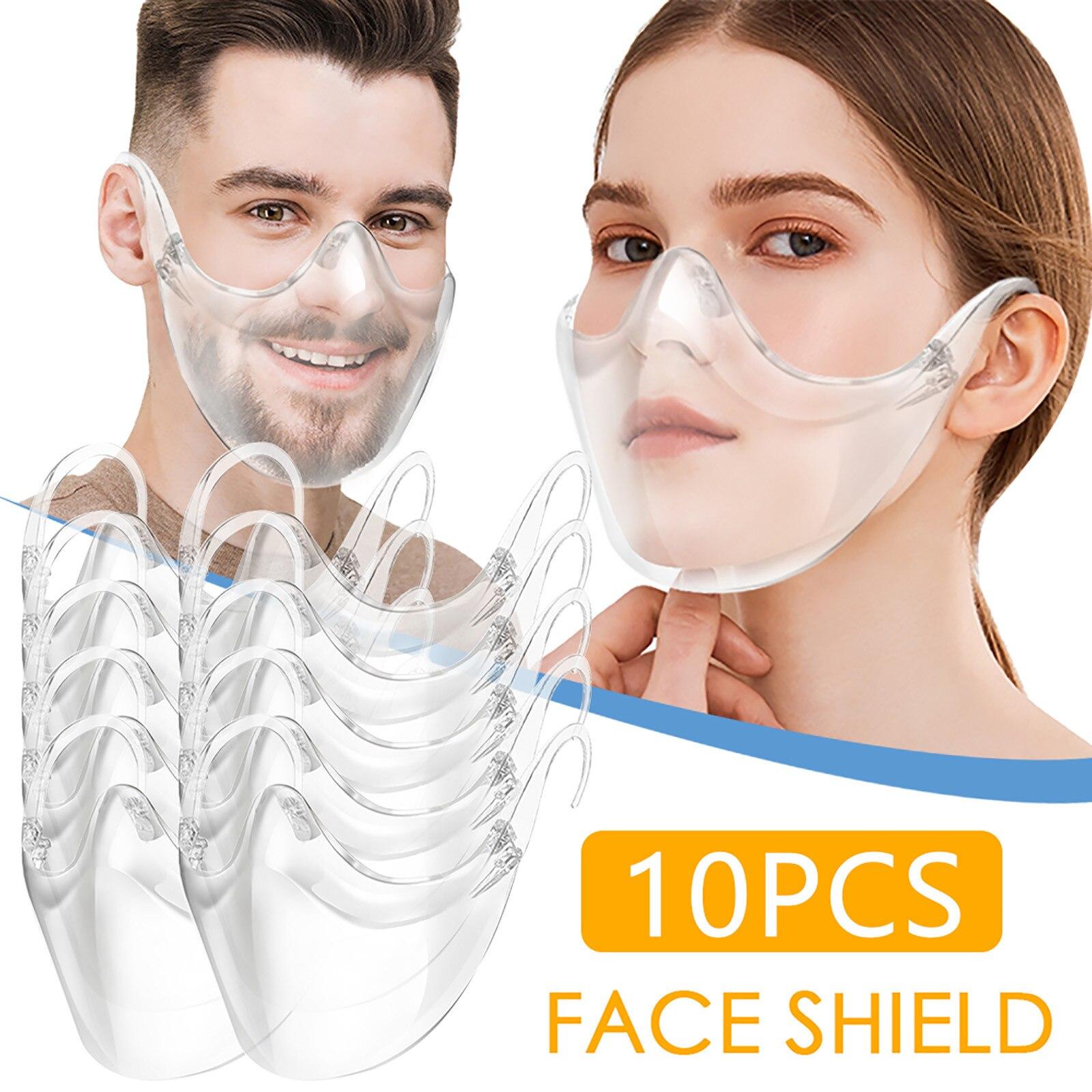 10Pcs Transparent protective maske Hygiene Safety Face Shield PVC Anti-Splash anti-spray Food Face Shield For Mouth Nose