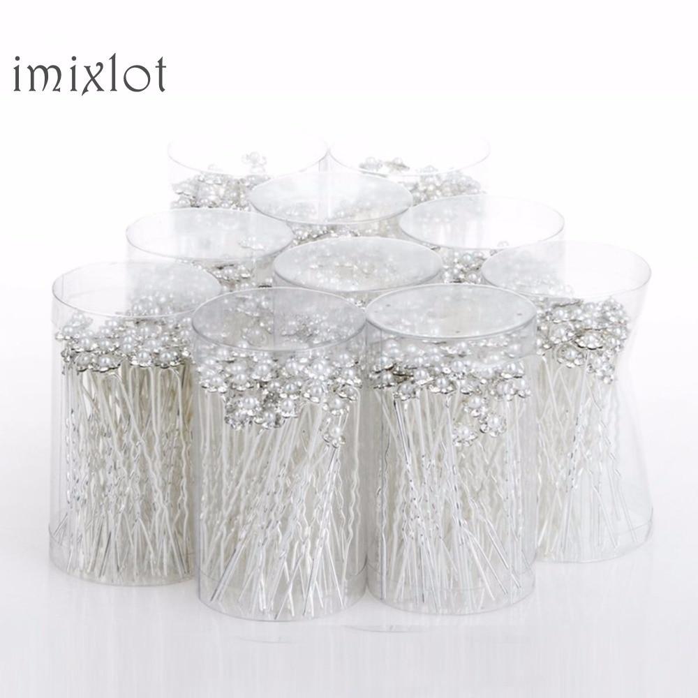 Imixlot свадебные заколки для волос Искусственный жемчуг цветок Свадебные Заколки для невесты заколки для волос женские украшения для волос аксессуары 40 шт