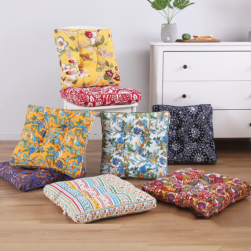 Printing Cushion Tatami Outdoor Chair Home Decor Sofa Pillows Backrest Flower Back Seat Pad Square Stool Seat Cushion Garden Mat