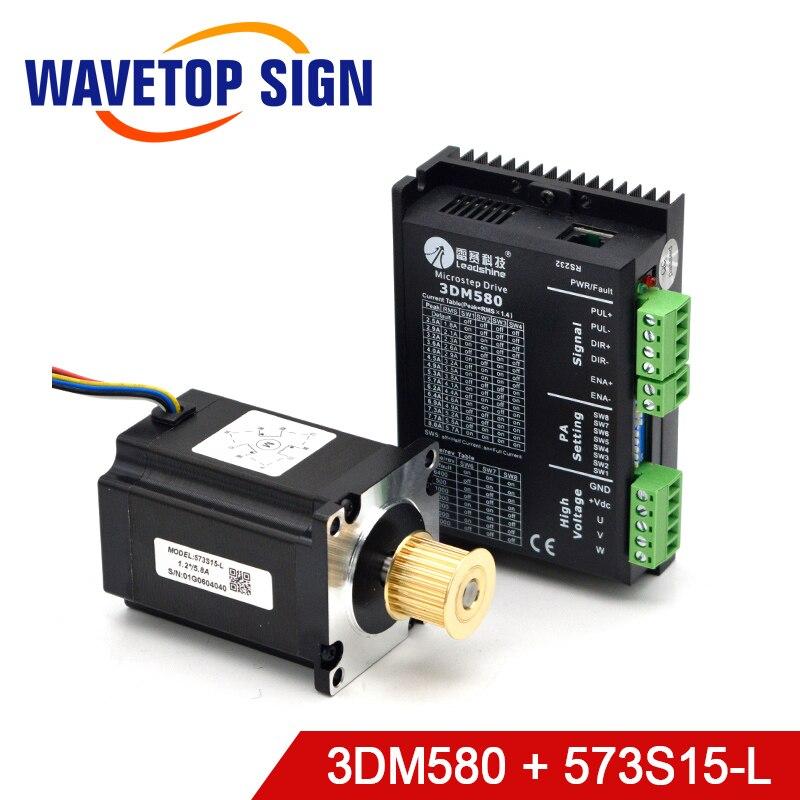 Leadshine 3 Fase paso a paso conductor 3DM580 + Motor 573S09-L 573S15-L para Co2 de corte por láser y máquina de grabado