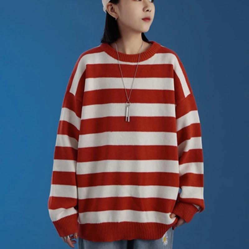 Winter women's striped sweater, casual large sweater, Harajuku, warm enlarge