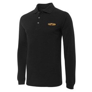 Captain Embroidery Long Sleeve Polo Shirts Embroidered Mens Shirts