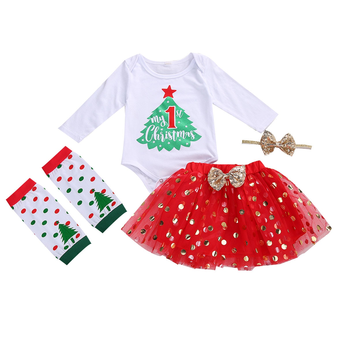 Newborn Baby Girl First Christmas Outfits Printed Romper Top+Sequin Tutu Voile Skirt+Leg Warmers+Headband 4pcs Xmas Clothes Set недорого
