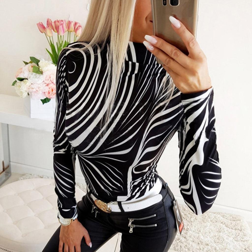 # Z20 nova zebra listras camiseta feminina primavera moda magro manga comprida impresso tshirt feminino topos moda t camisa