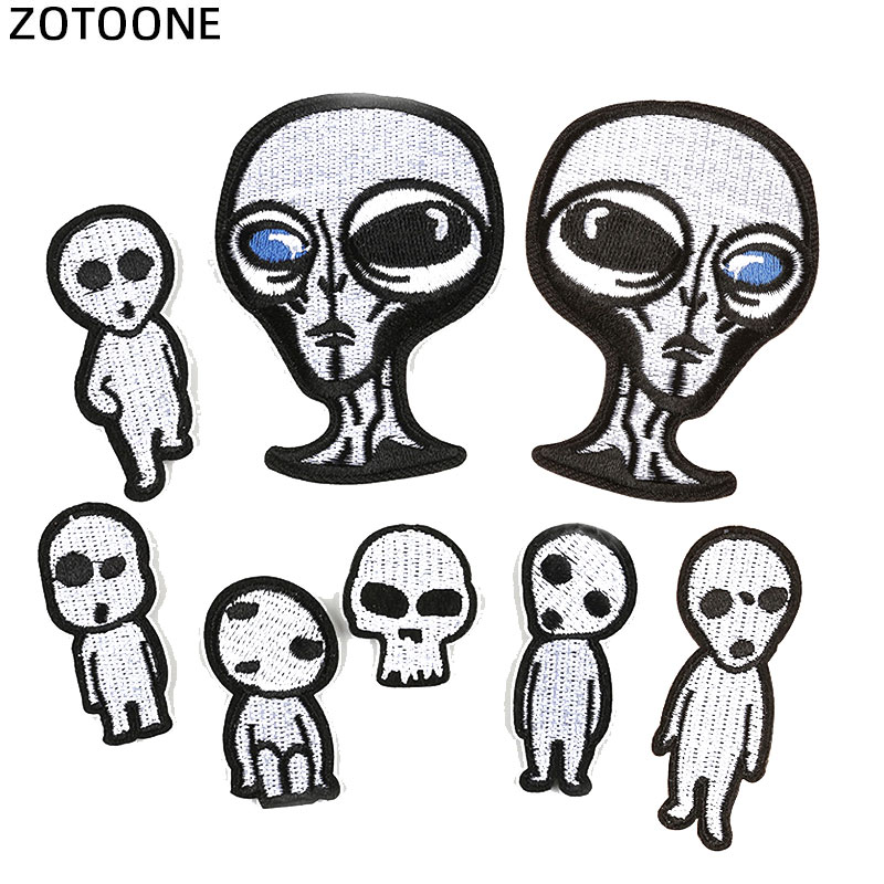Zotoone ufo alienígena rocket, stranger things, patches de ferro para roupas, punk, bordados, patches em roupas, diy, aplique g