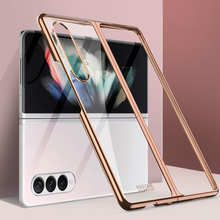 Plating Frame Transparent Back Case for Samsung Galaxy Z Fold 3 Phone Cover Hard Clear Plastic Phone Case For Z Fold3 Shockproof