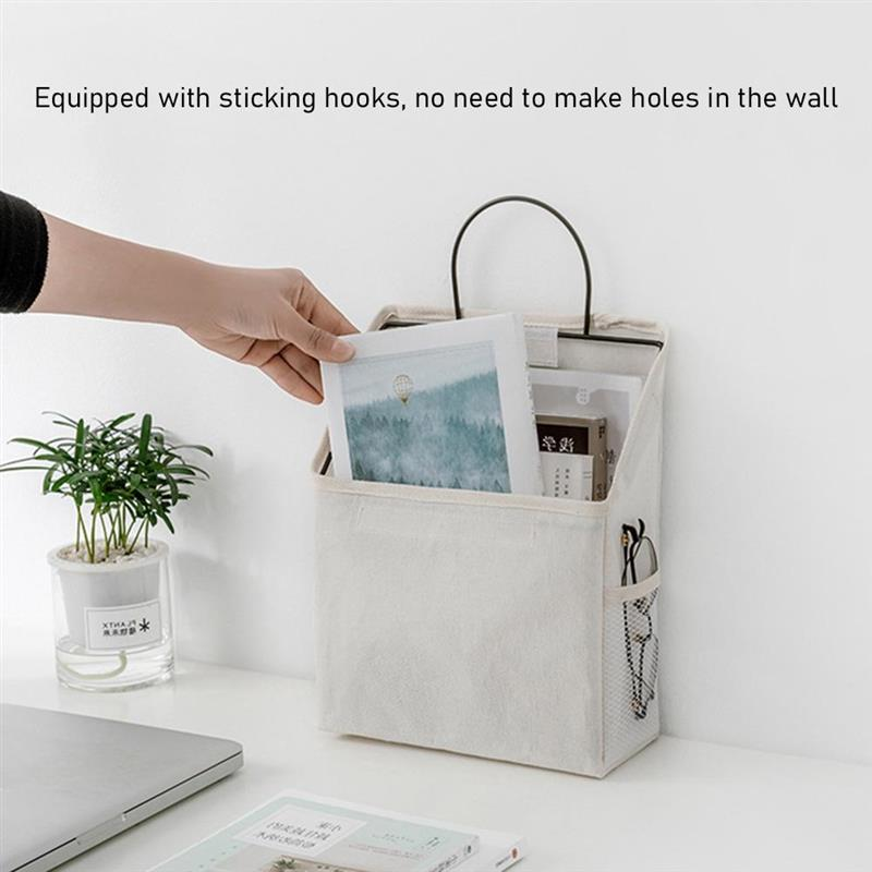 Wall Organizer Hanging Bag Cotton and Linen Closet Hanging Organizer Box Containers for Bedroom Bathroom Dormitory Storage