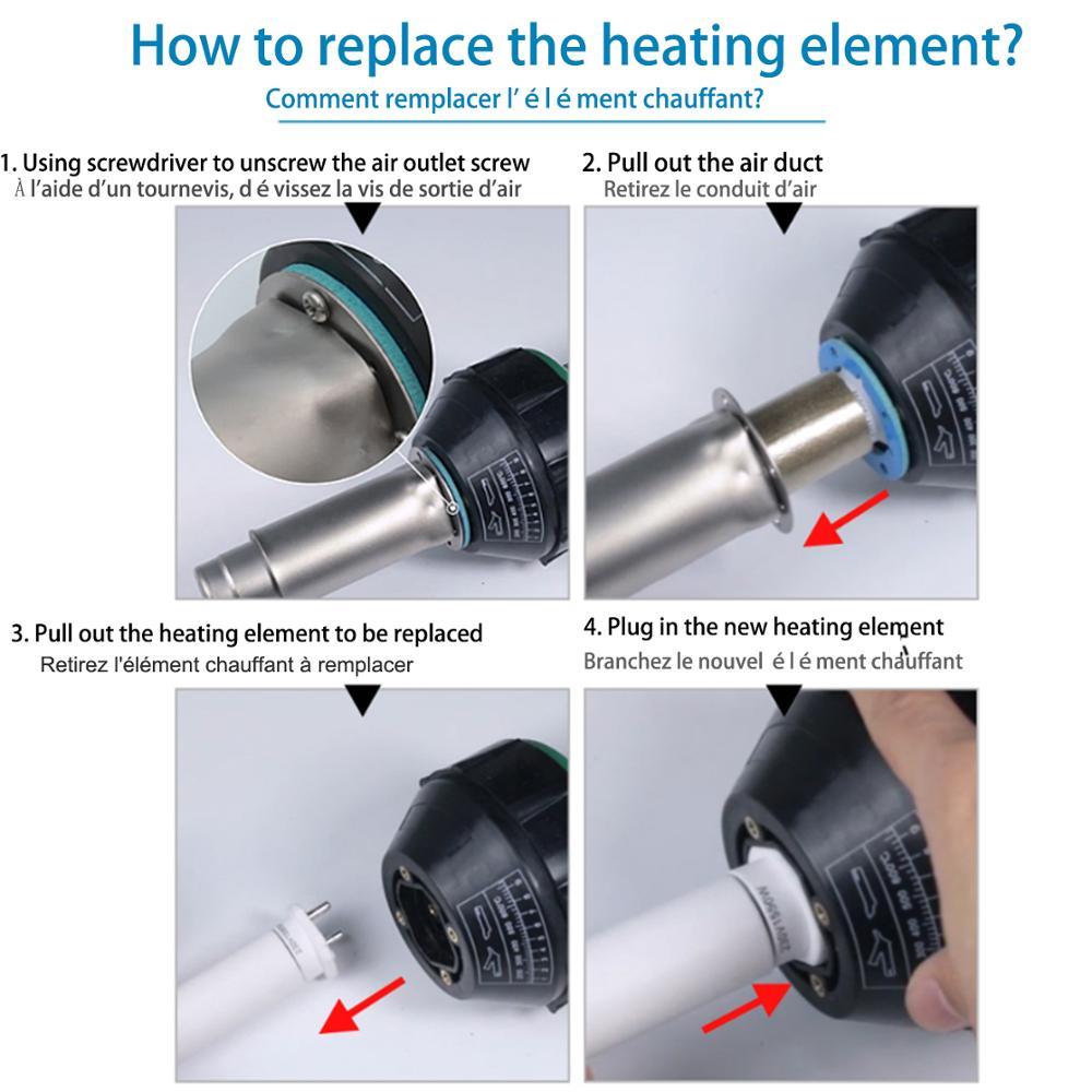 Honhill 1600W Hot Air Blower Heat Gun Plastic Welding Gun Machine Hot Air Torch Welding With PVC Plastic Rod Repairing Tool Kit enlarge