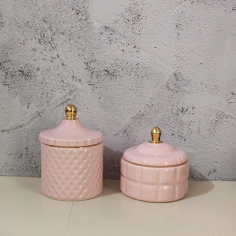 Simple creative pink storage ornaments cotton swab tank storage tank candy jar jewelry storage tank ornaments