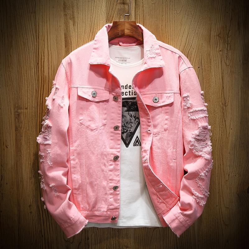 2021Autumn New Men's Jean Jacket Slim Fit Cotton Denim Jacket Red White Black Ripped Hole Jean Coats Men Outwear Plus size