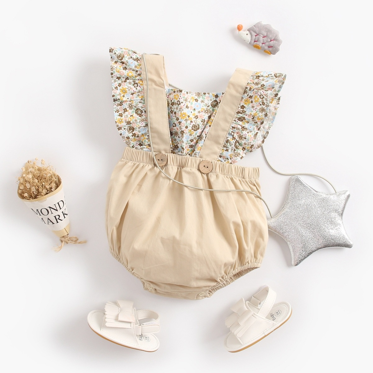 Two pieces of spring and summer babys Jumpsuit with autumn triangle