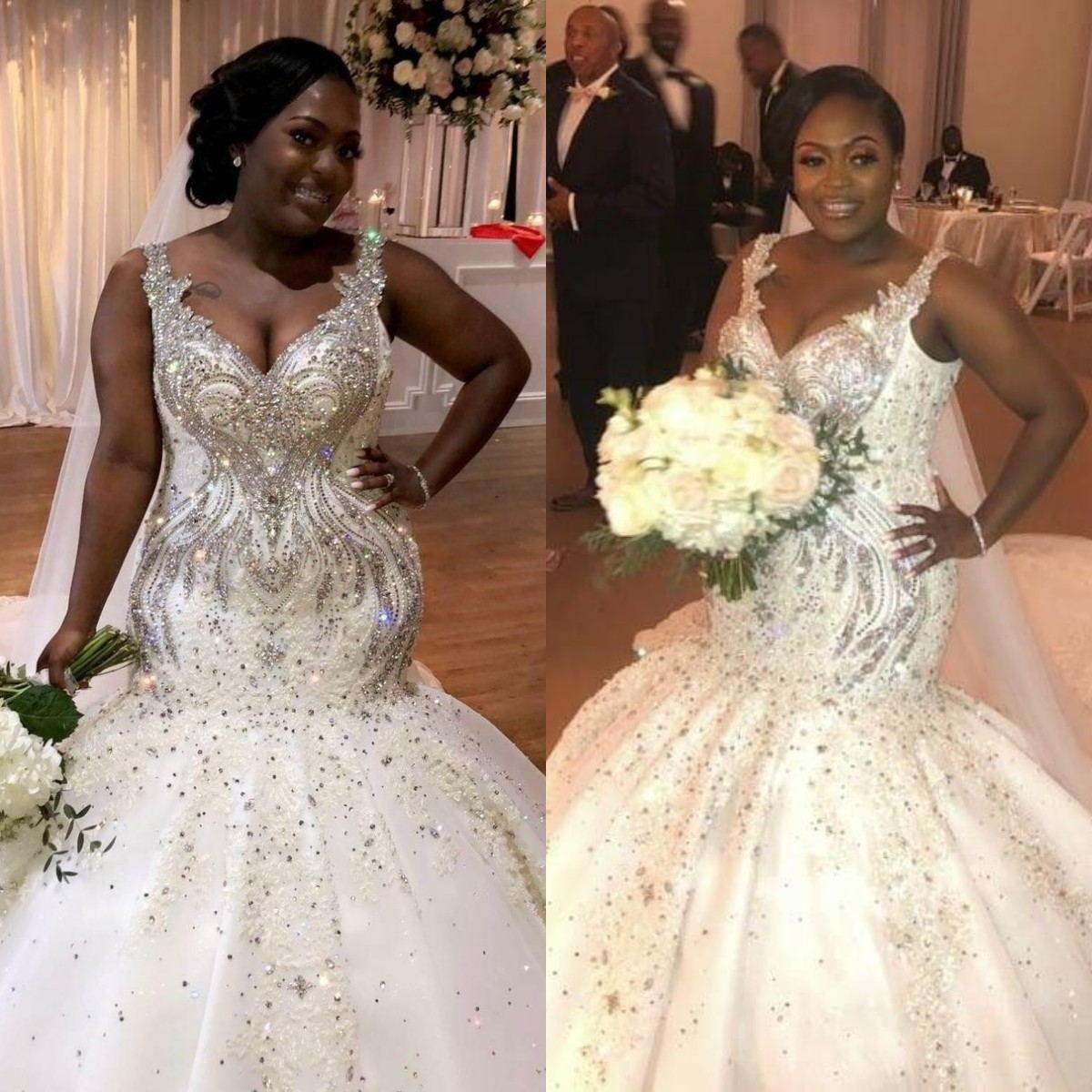 فستان زفاف لامع على شكل حورية البحر ، مقاس كبير ، كريستال مطرز ، ياقة على شكل v ، قطار نيجيري أفريقي ، بوق ، 2021
