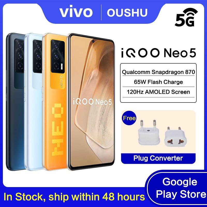 Перейти на Алиэкспресс и купить Оригинальный мобильный телефон vivo IQOO Neo5, процессор Qualcomm Snapdragon 870, 120 Гц, экран OLED, аккумулятор 4400 мАч, 66 Вт, Зарядка телефона