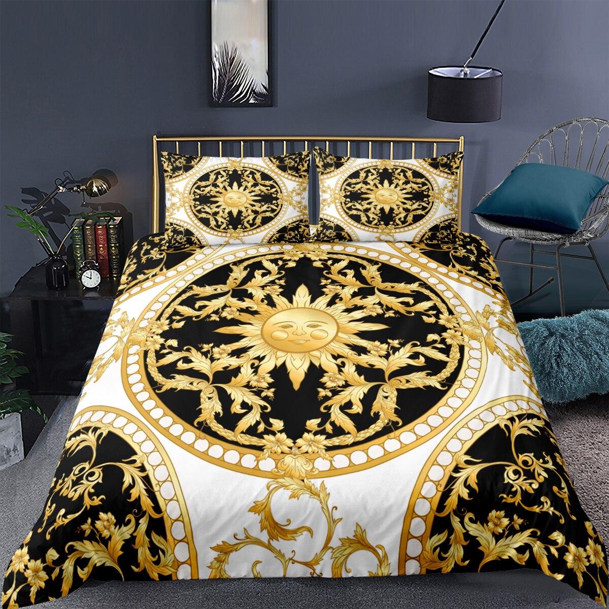الذهبي ماندالا طقم سرير حاف الغطاء الذهبي البوهيمي المفارش أطقم سرير