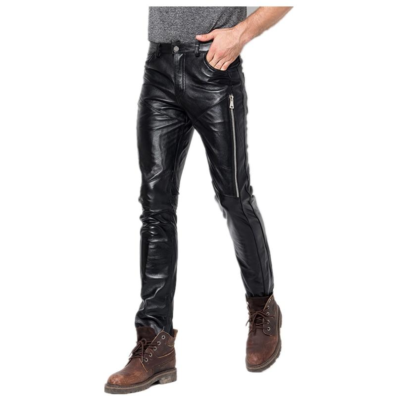 Male Skinny Genuine Leather Pants 2021 Men's New Fashion Sheepskin Leather Motorcycle Pants Men Streetwear Waterproof Pants