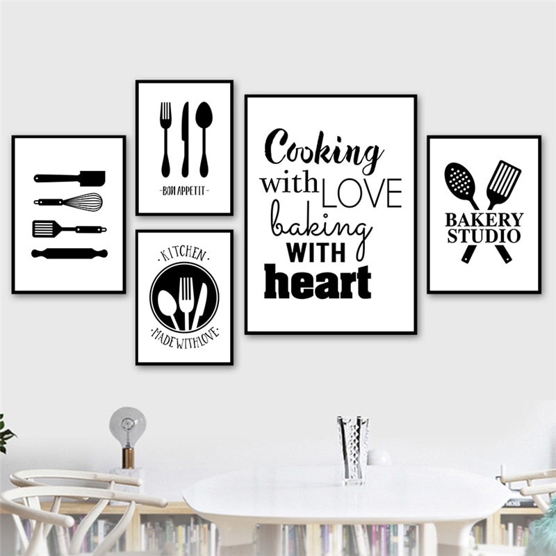 AliExpress - Black White Cooking With Love Kitchen Quote Wall Art Canvas Painting Prints Posters Kitchen Dining Room Decoration Picture CH117