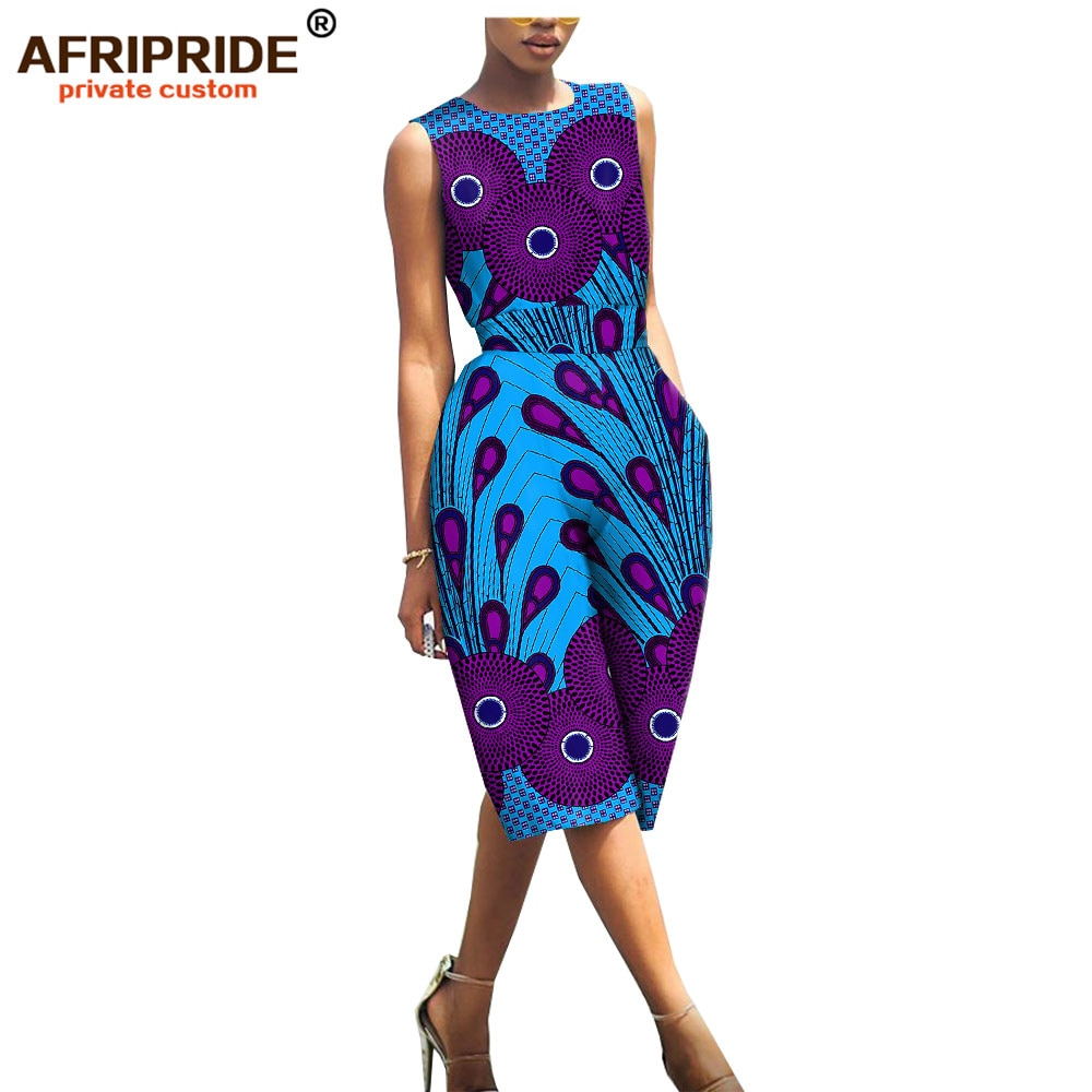 african print jumpsuits for women AFRIPRIDE bazin richi sleeveless knee-length casual cotton romper playsuit A1929001