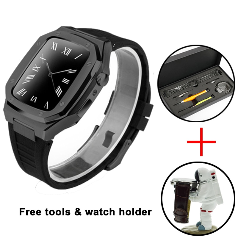 44mm Fluorine rubber sports strap For iWatch Series SE 6 5 Metal smart WatchBand Stainless steel set Watch Case with RepairTools enlarge