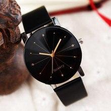 Luxury Couple Watches Men Women Leather Strap Line Analog Quartz Ladies Wrist Watches Fashion Vintag