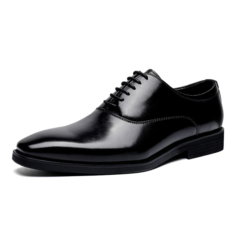 2021 Men's New Business Formal Wear Small Square Head Lace-up Cowhide Handmade Formal Casual Leather Shoes