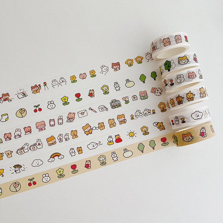 MINKYS Kawaii bonitas niñas 5M Washi cinta de enmascarar diario cinta adhesiva decorativa papelería escolar coreana