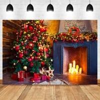 laeacco christmas tree interior gift fireplace birthday photo photography backdrop photographic photo background for photo studi