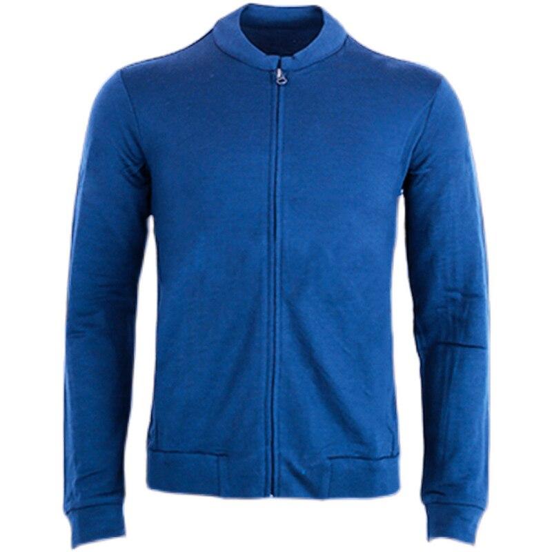 Spring Fall Men Merino Wool Full-Zip Sweater Jacket 100% Merino Wool Man Jacket Men's Keep Warm Sports Jacket Asian Size S-XXL