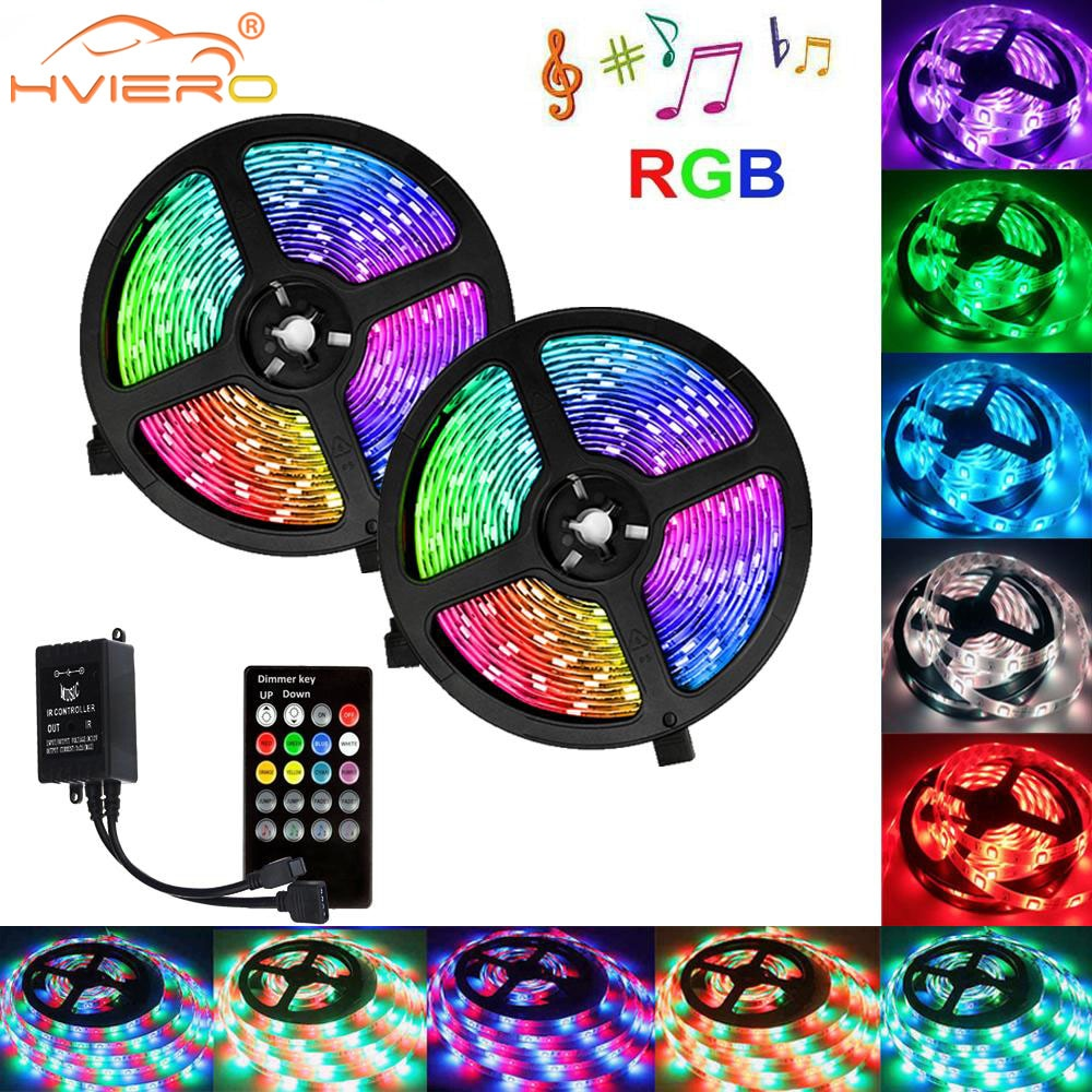 2835 RGB LED Flexible Light Bar 10M 600L Music Infrared Remote Control DC12V Festival Lighting Home Decoration Lamp Ribbon Lamp