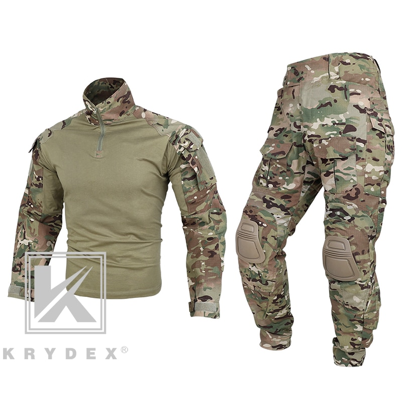 KRYDEX G3 Combat Uniform Set For Military Airsoft Hunting Shooting Multicam CP Style Tactical BDU Camouflage Shirt & Pants Kit