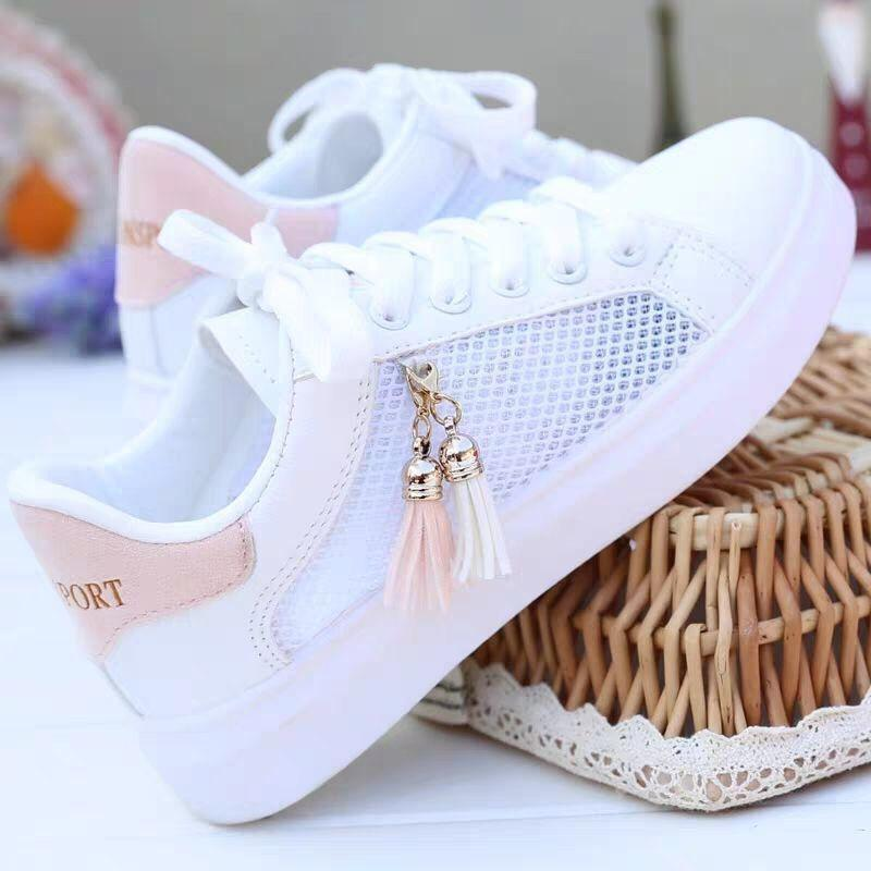 Women Sneaker Breathable Students Casual Shoes Sports for Girl Flat Mesh White Shoes Vulcanize Desginer