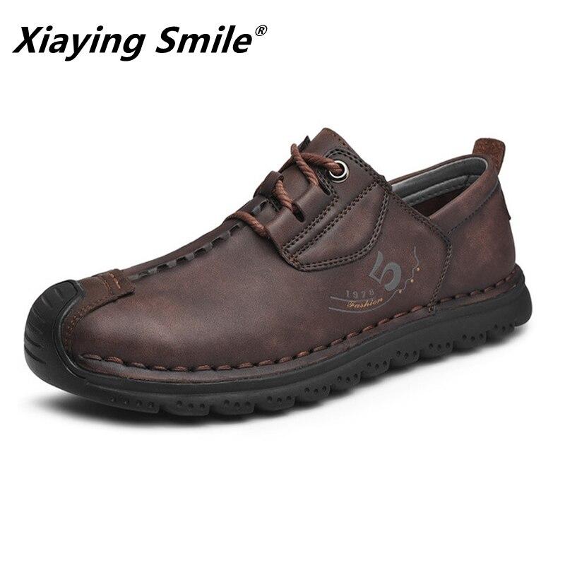 2020 Aum جلد البقر الرجال حذاء كاجوال ماركة فاخرة رجالي المتسكعون الأخفاف تنفس الانزلاق على أحذية قيادة سوداء حجم كبير 38-46