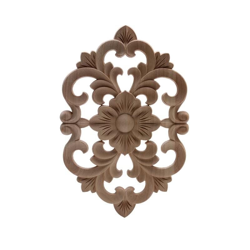 Неокрашенная декоративная Ретро деревянная Ремесленная деревянная аппликация, деревянная Декаль, Длинные Цветочные листья, Резиновая дер...