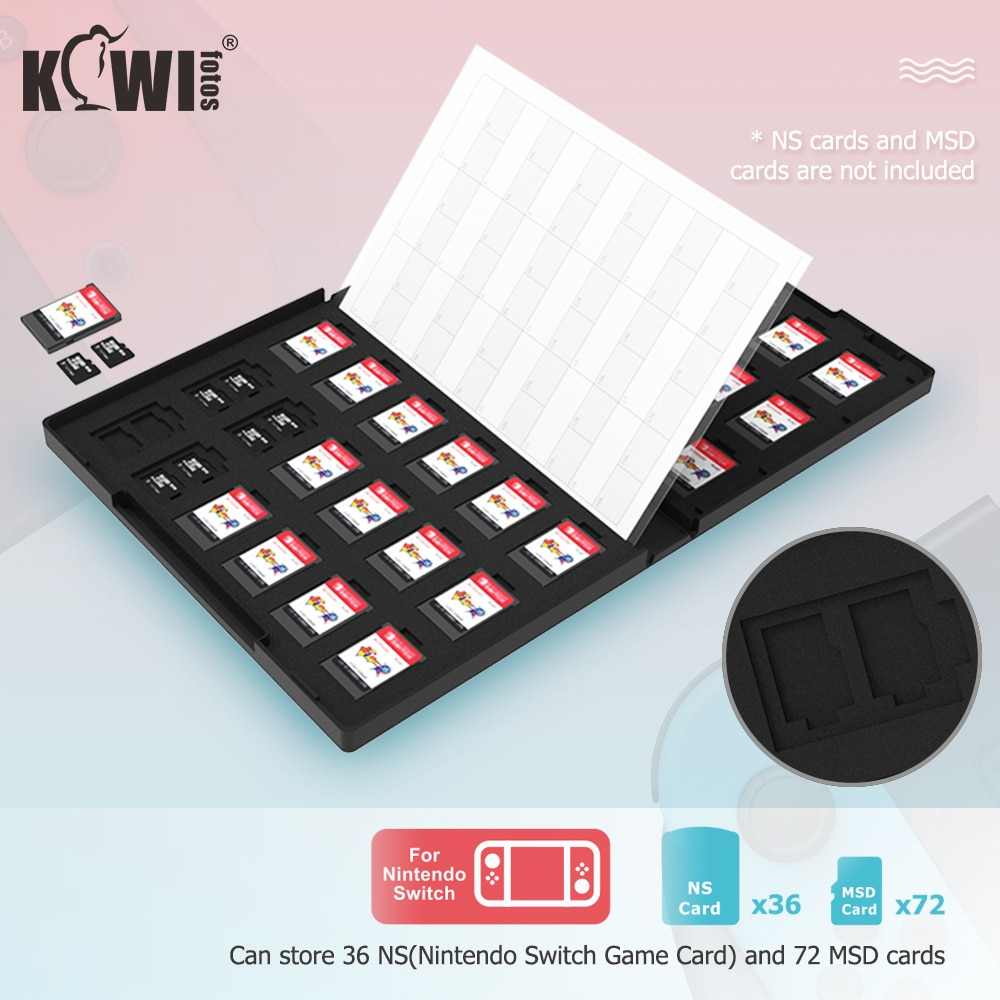Kiwi Memory Card Case Game Card Holder Storage Organizer for 36 NS(Nintendo Switch Game Card) and 72 MSD cards  Waterproof