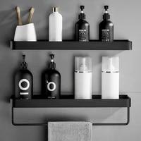 Etagere murale de salle de bain en aluminium noir  etagere dangle de salle de bain en aluminium noir rangement pour cuisine