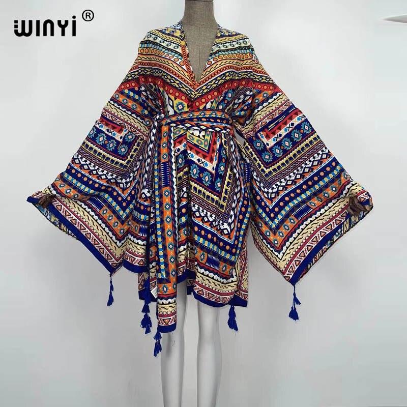 Женский кардиган в африканском стиле WINYI, Шелковый Макси-кардиган с рукавами «летучая мышь», коктейльное платье, одежда для отдыха в африкан...