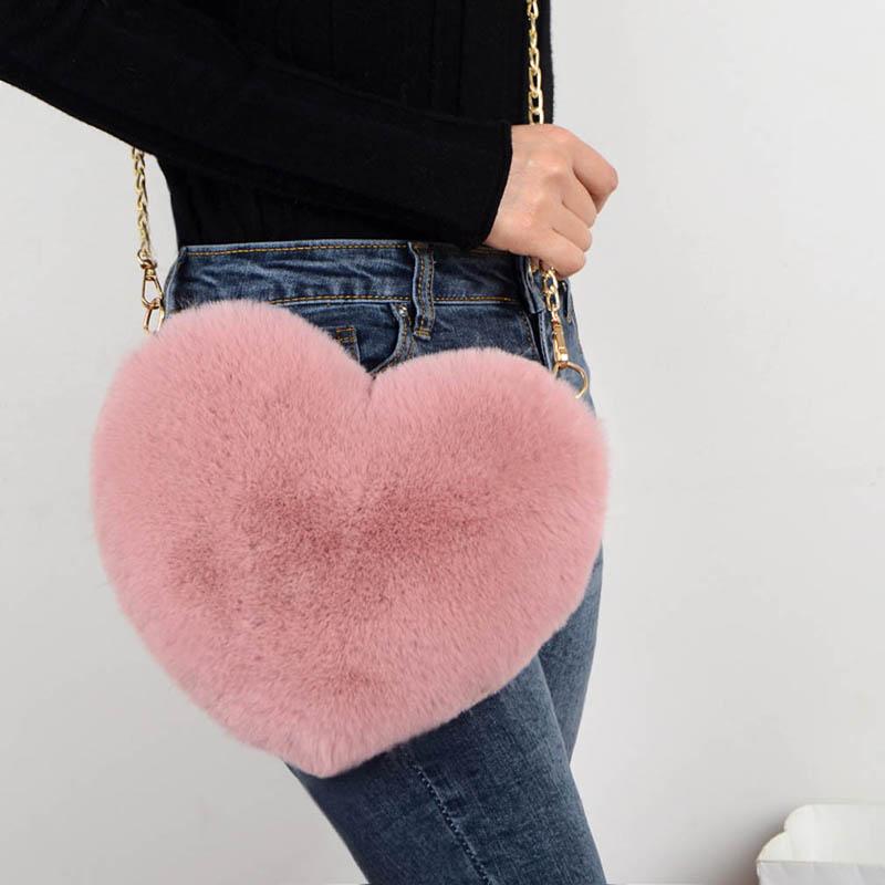 2020 Fashion Women's Heart Shaped Handbags Cute Kawaii Faux Fur Crossbody Bags Wallet Purse Chain Sh