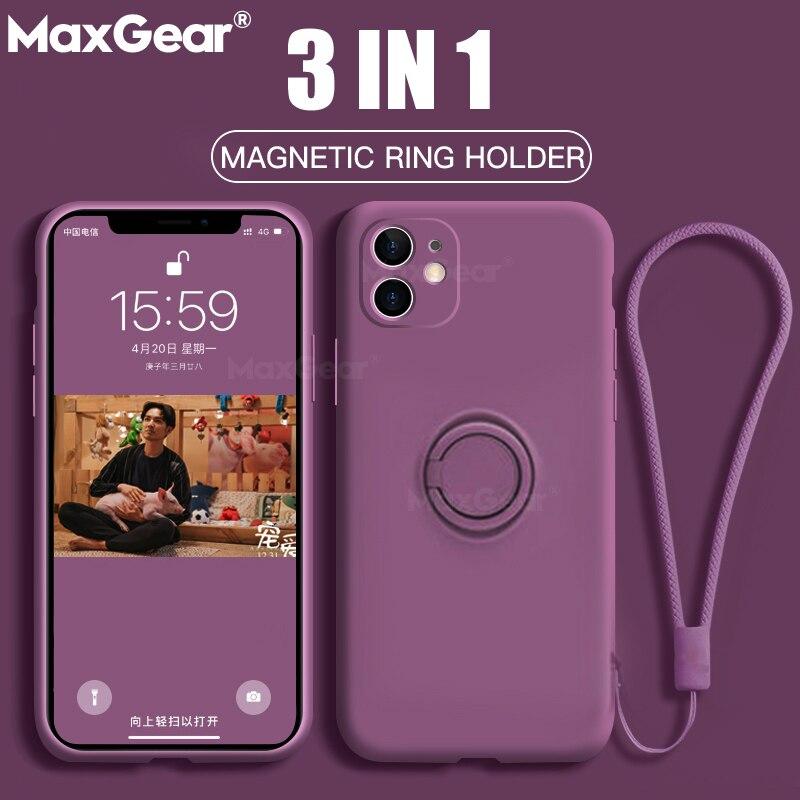 Original silicone magnético anel titular caso para o iphone 11 pro xs max xr xs x 8 7 6s 6 mais macio suporte do carro dedo capa