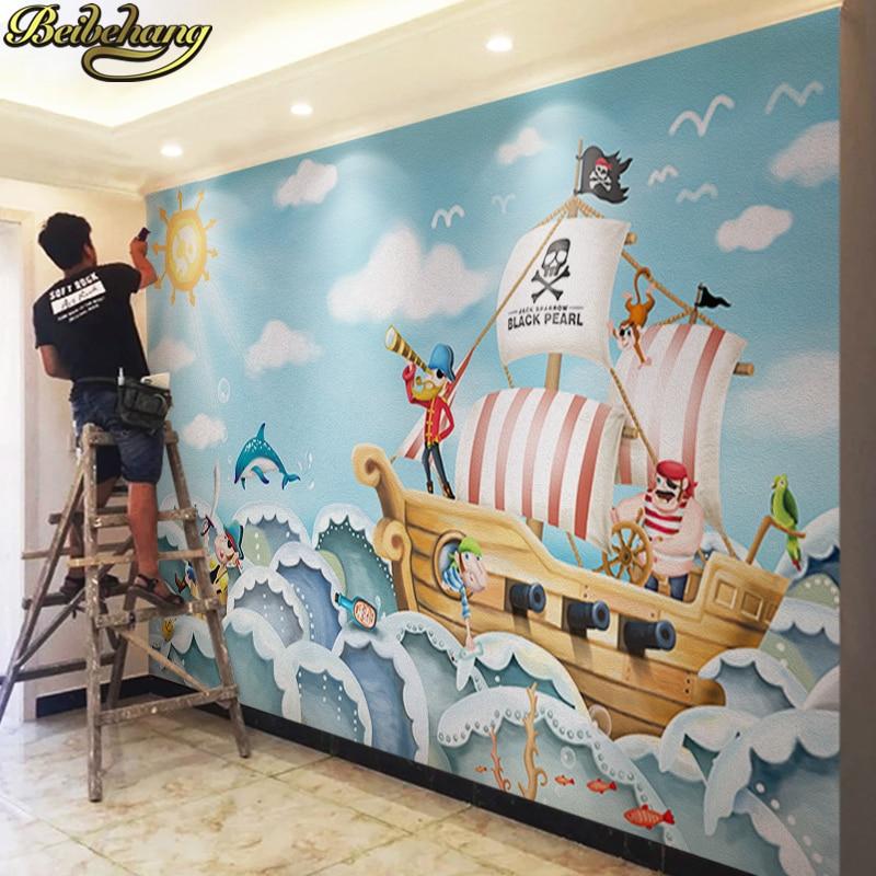 Beibehang оптовая продажа лодка Джек Воробей росписи пират 3d мультфильм росписи обои для ребенка Детская комната 3d настенные фрески