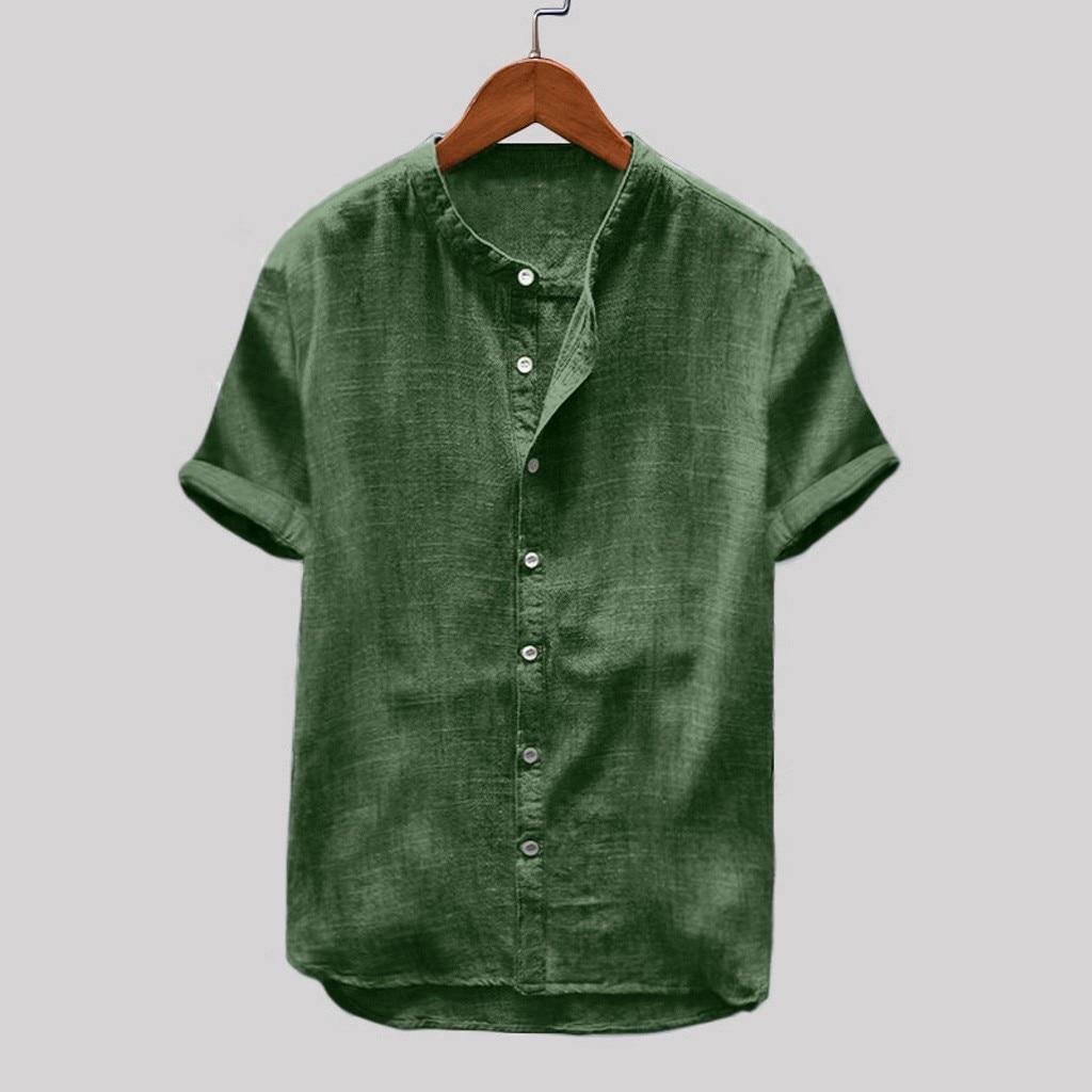 Vintage Cotton Linen Shirt Men's Summer Shirt Pure Hemp Short Sleeves Cotton Linen Shirt Harajuku Large Pullover Blouse 4#