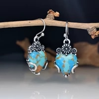 european and american vintage floral and heart shaped blue dragon crystal turquoise earrings hot sale silver plated jewelry