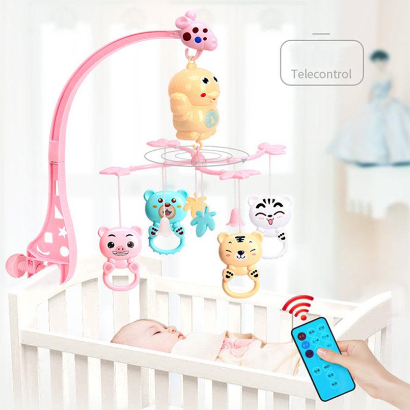 Мобиль с погремушками для детской кроватки, карусель с погремушками для детской люльки 0-12 месяцев, проекционная игрушка для новорожденных