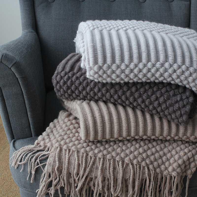 Cobertor de viagem para ar condicionado, nórdico, malha, cinza, cáqui, sofá, cobertor com borlas, 127x17 0cm/127x220cm