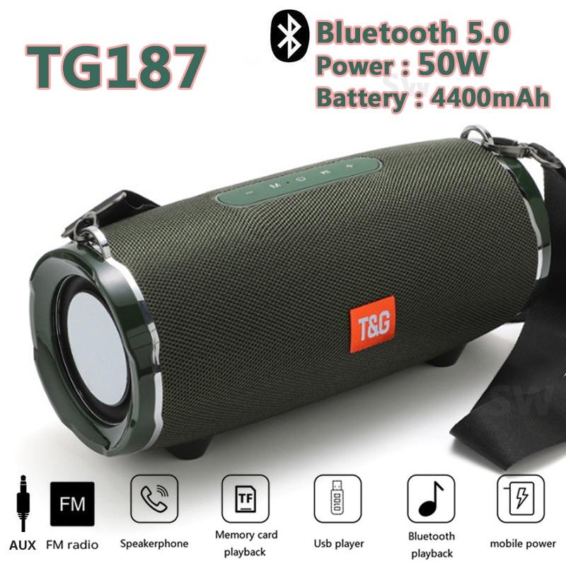 Speaker Boom Box Music Center 50W Big Waterproof Portable Column Subwoofer TG187 Power Bluetooth for phone Computer Speakers FM enlarge