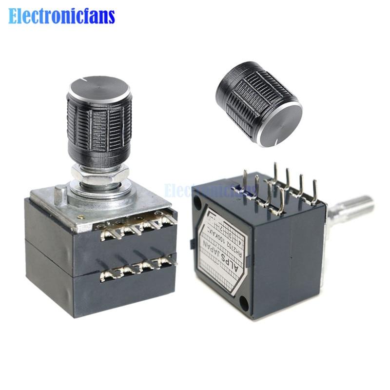 Rotary Potentiometer 50K 100K LOG ALPS RH2702 Audio Volume Control Pot Stereo W Loudness L with Potentiometer Knob Dia. 6mm Shaf