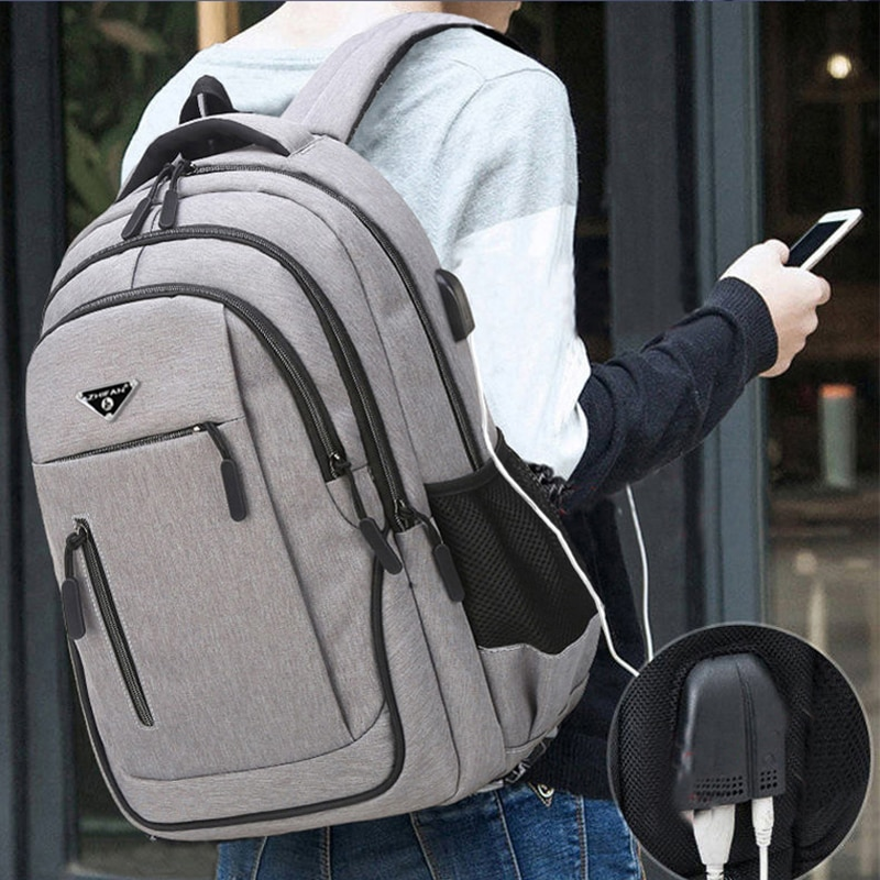 Large Capacity Backpack Men Laptop 15.6 Oxford Black Solid High School Bags Teen College Student Bac