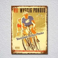vintage retro style wyscig cycling poster image tin sign metal sign metal poster metal decor metal