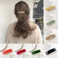 fashion ponytail securing hair clip for girls french ladies all match spring clip marbling side clip tortoise shell barrettes